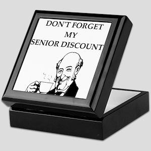 funny senior citizen discount joke Keepsake Box