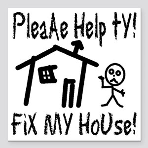 "please_help_ty Square Car Magnet 3"" x 3"""