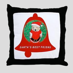 Christmas Funny Santa Puppy Bell Fami Throw Pillow