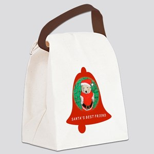 Christmas Funny Santa Puppy Bell  Canvas Lunch Bag