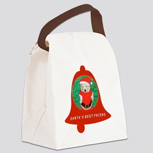 Christmas Funny Santa Puppy Red B Canvas Lunch Bag