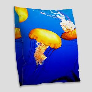 jellyfish blue marine peace and joy Burlap Throw P