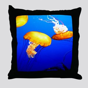 jellyfish blue marine peace and joy Throw Pillow