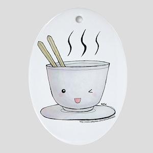 kawaii noodles Oval Ornament