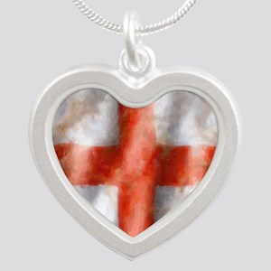 494 St George Cross b Silver Heart Necklace