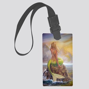 merm perch for journ Large Luggage Tag