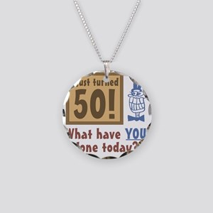 BdayQuestion50 Necklace Circle Charm