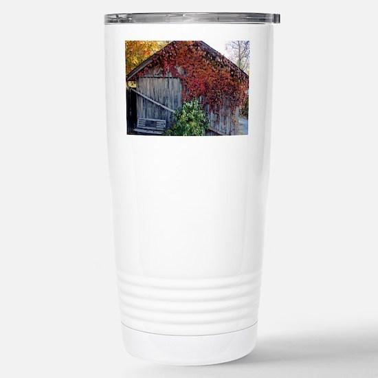 old_barn_Lg_framed Stainless Steel Travel Mug