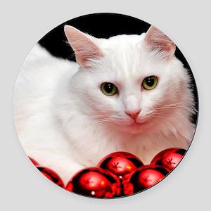 xmas_cat_rnd Round Car Magnet