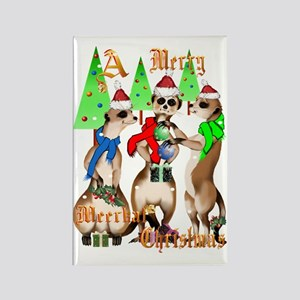 Merry Meerkat Christmas Trans Rectangle Magnet