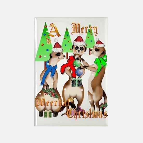 Merry Meerkat Christmas Trans Rectangle Magnet