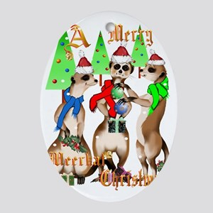 Merry Meerkat Christmas Trans Oval Ornament