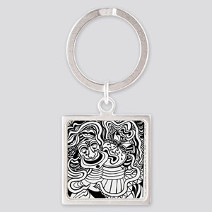 Theater Masks Square Keychain