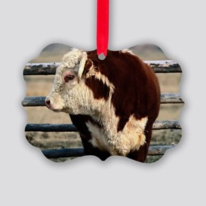 Bull L print Picture Ornament