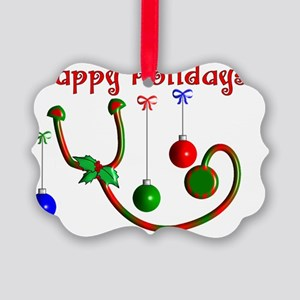 Happy Holidays Stethoscope Picture Ornament