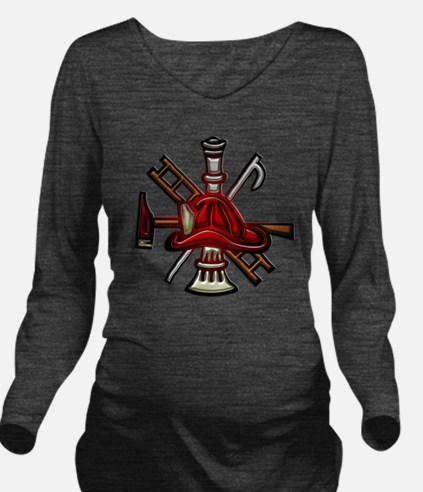 Fire Department Seal Long Sleeve Maternity T-Shirt