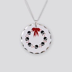 skull-wreath-bow_wh Necklace Circle Charm
