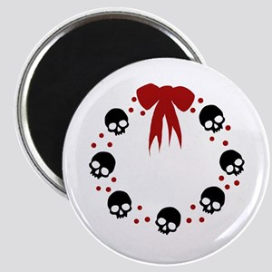 skull-wreath-bow_wh Magnet