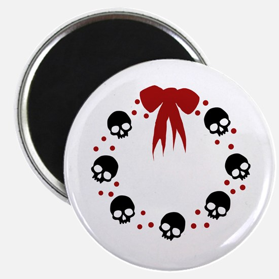 skull-wreath-bow_wh Magnet