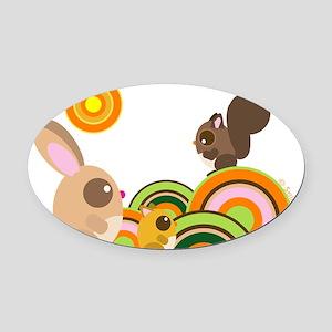 2-WoodLand 3 animals Oval Car Magnet