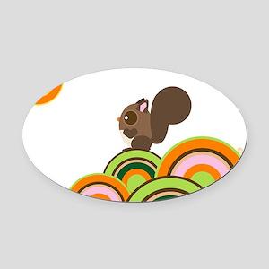 2-WoodLand Squirrel Oval Car Magnet