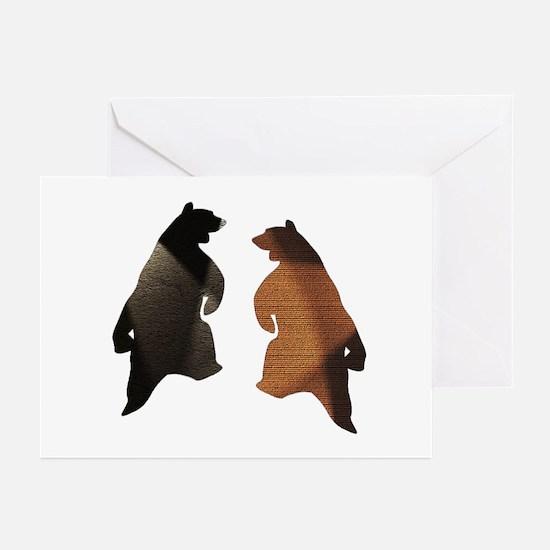 BROWN & BLACK DANCING BEAR 3 Greeting Cards (10pk