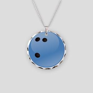 Blue bowling ball Necklace Circle Charm
