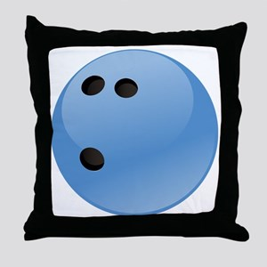 Blue bowling ball Throw Pillow