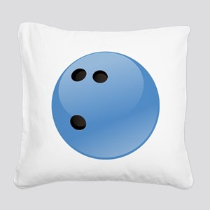 Blue bowling ball Square Canvas Pillow