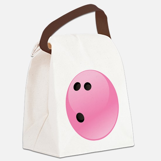 Pink Bowling Ball Canvas Lunch Bag