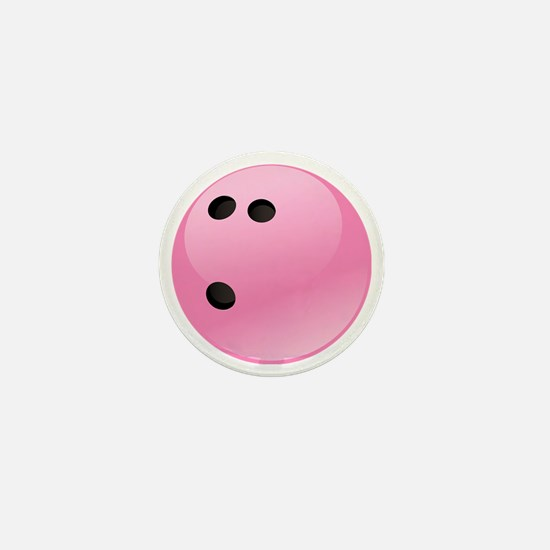 Pink Bowling Ball Mini Button