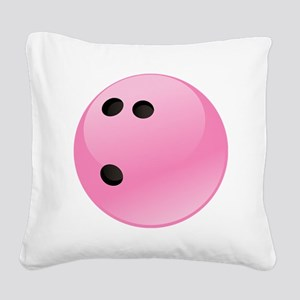 Pink Bowling Ball Square Canvas Pillow