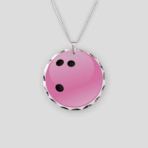 Pink Bowling Ball Necklace Circle Charm