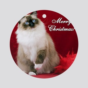 Maddie Merry Christmas Tile Coaster Round Ornament