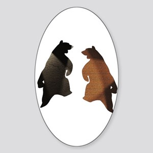 BROWN & BLACK DANCING BEAR 3 Oval Sticker