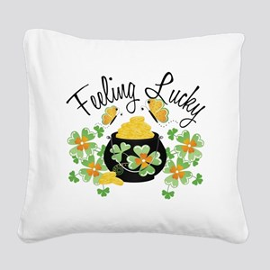 feelingluckypot Square Canvas Pillow