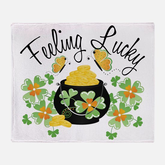 feelingluckypot Throw Blanket