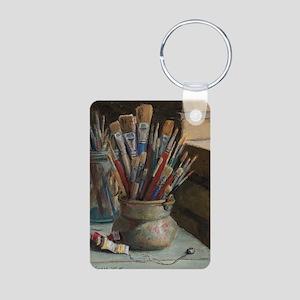 Paint Brushes 3 Aluminum Photo Keychain