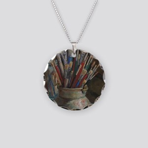 Paint Brushes 3 Necklace Circle Charm