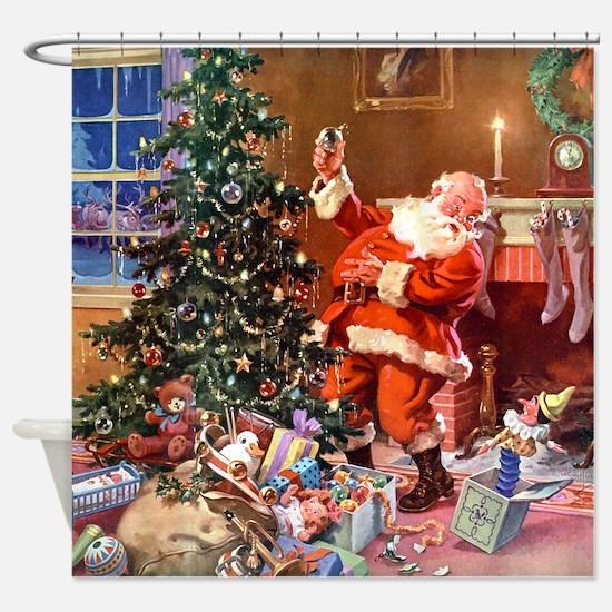 Santa Claus 1_SQ_ADJ Shower Curtain