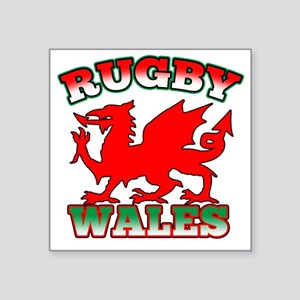 "Rugby Wales Flag Dragon Square Sticker 3"" x 3"""