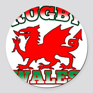 Rugby Wales Flag Dragon Round Car Magnet