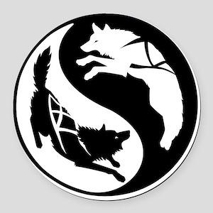 yin_yang_dogs Round Car Magnet