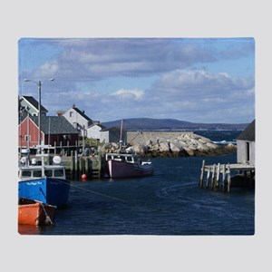 Fishing Village at Peggys Cove Throw Blanket