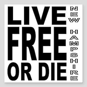 "LiveFreeorDieBlack Square Car Magnet 3"" x 3"""