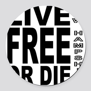 LiveFreeorDieBlack Round Car Magnet