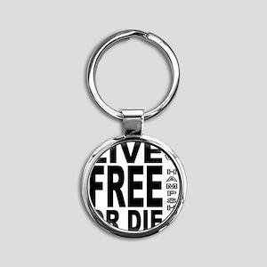 LiveFreeorDieBlack Round Keychain