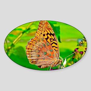 Great Spangled Fritillary Butterfly Sticker (Oval)