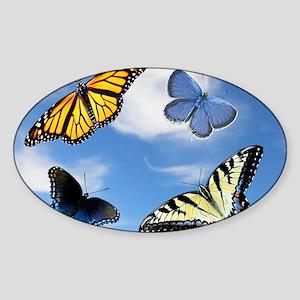 Assorted Butterflies Year At A Glan Sticker (Oval)