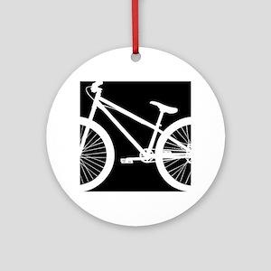 Black and White Bike Round Ornament